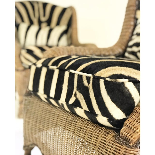 Feather Vintage Ralph Lauren Wicker Wingback Chairs Restored in Zebra Hide - Pair For Sale - Image 7 of 12