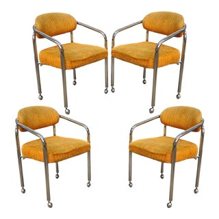 Set of 4 Vintage Chromcraft Mid Century Modern Tubular Chrome Dining Arm Chairs For Sale