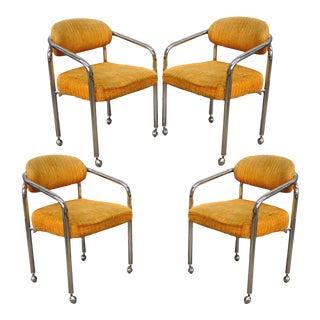 Vintage Chromcraft Mid-Century Modern Tubular Chrome Dining Arm Chairs - Set of 4