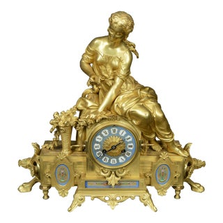 Nineteenth Century Gay Vicarino Gilt Louis Style Mantel Clock