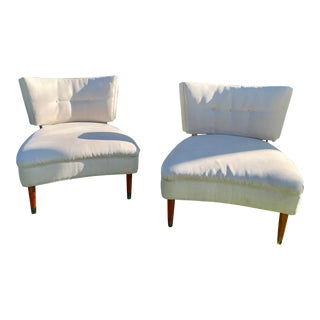 Mid-Century Slipper Chairs - a Pair For Sale