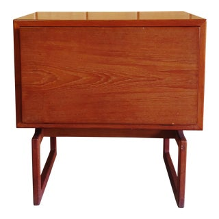 Vintage Danish Modern Teak Side Table Nightstand With Dropdown Front For Sale