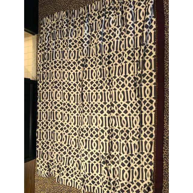 "Transform your room with these incredible custom designer curtain panels. Constructed from Schumacher's ""Imperial Trellis""..."