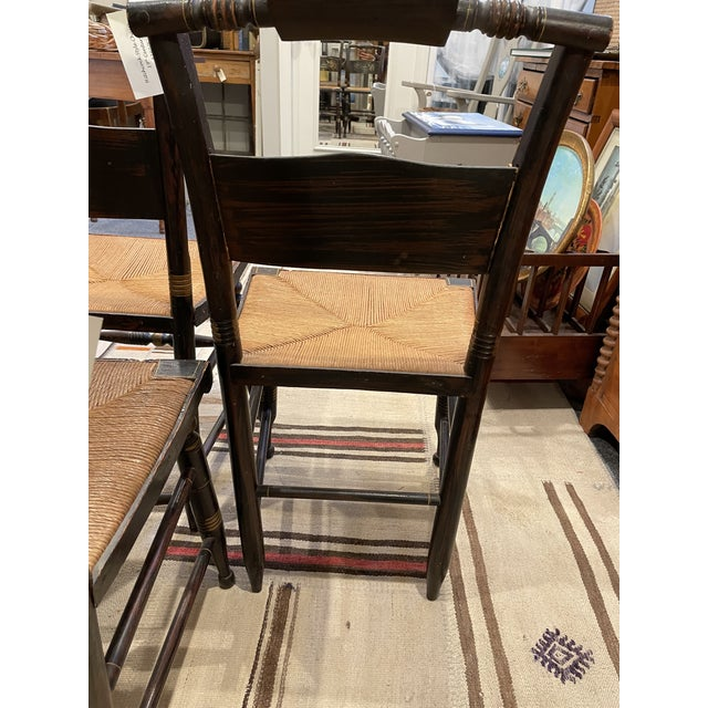 Black Late 19th Century Hitchcock Style Chairs - Set of 4 For Sale - Image 8 of 9