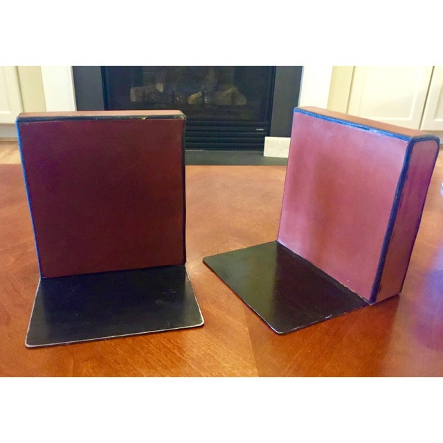 Black English Equestrian Saddle Leather Bookends - a Pair For Sale - Image 8 of 12