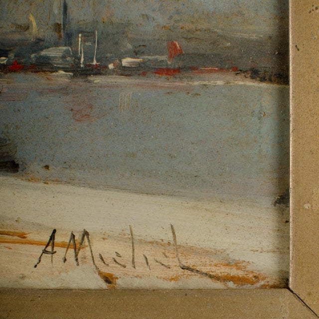"""Paint 19th Century """"Harbor During Date"""" Maritime Oil Painting Signed A. Michel, Framed For Sale - Image 7 of 10"""
