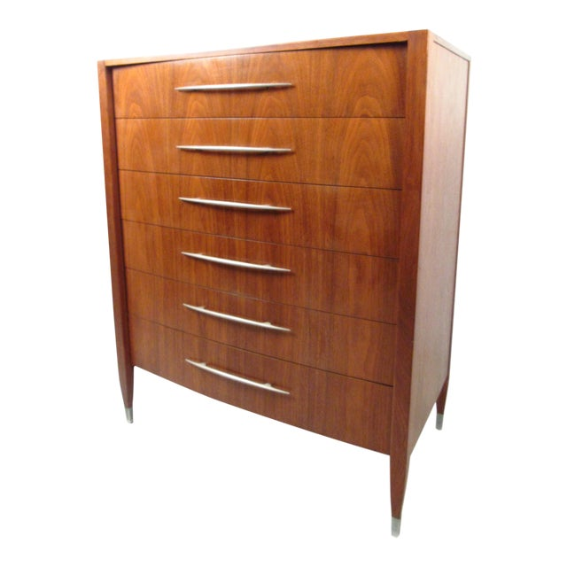 Mid-Century Walnut Dresser With Chrome Accenting by Sligh Furniture For Sale