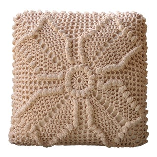 Boho Chic Crocheted Macrame Square Accent Pillow For Sale
