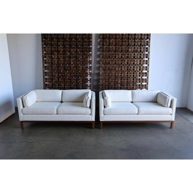 1960 Roger Sprunger for Dunbar Curved Back Settees - a Pair For Sale - Image 12 of 13