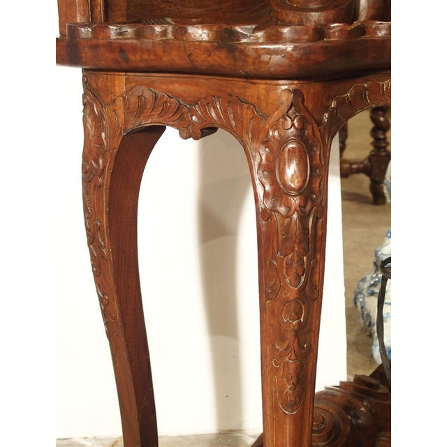 Antique French Walnut Wood Hall Rack and Umbrella Stand, Circa 1880 For Sale - Image 4 of 11