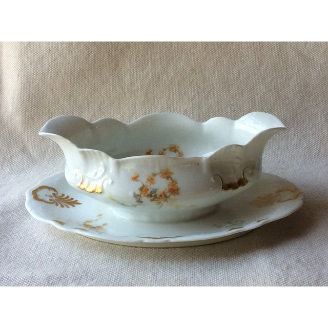 Art Nouveau French Heirloom Porcelain Gravy Boat and Platters Serving Pieces - 4 Pc. Set For Sale - Image 3 of 13