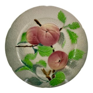 St. Clement Keller & Guerin French Faience Apple Fruit Plate For Sale