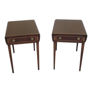 Wellington Hall Inlaid Mahogany Pembroke End Tables - a Pair For Sale