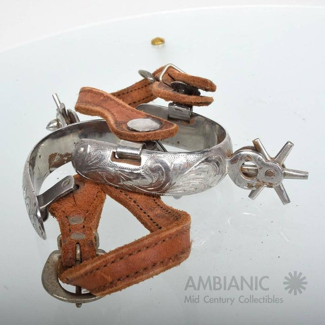 Silver Pair of Spurs With Saddle Leather Straps For Sale - Image 8 of 8