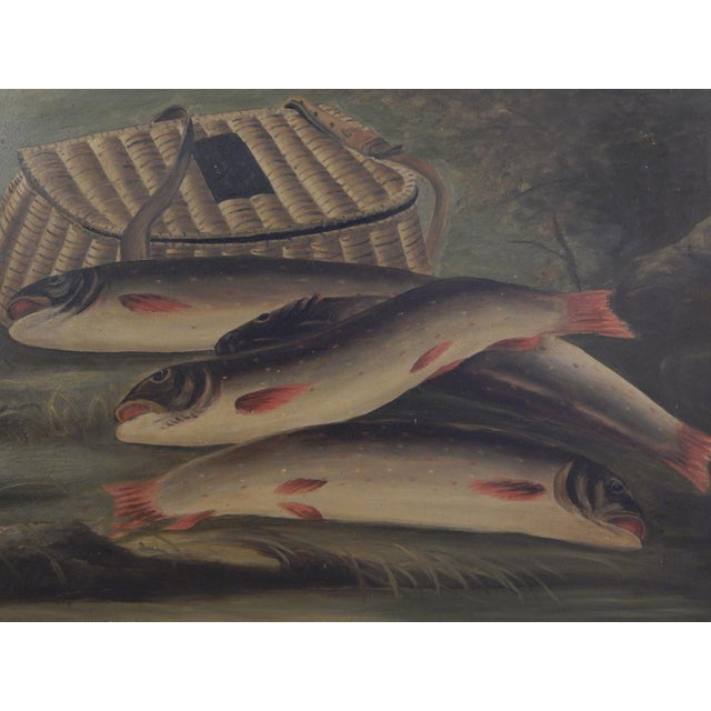Americana Trout and Creel Painting For Sale - Image 3 of 7
