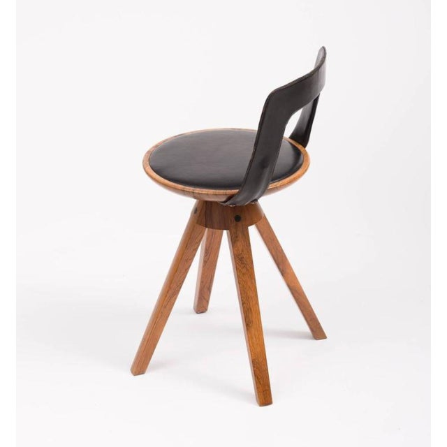 Mid-Century Modern Tove and Edvard Kindt-Larsen Swivel Stool in Rosewood, 1957 For Sale - Image 3 of 10