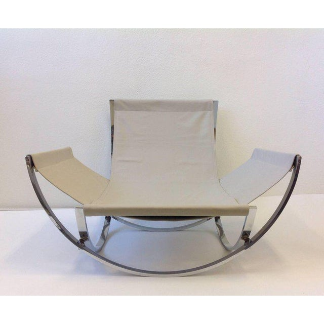 Italian Polish Stainless Steel and Leather Lounge Chair and Ottoman by Leonart Bender for Charlton Co. For Sale - Image 9 of 13
