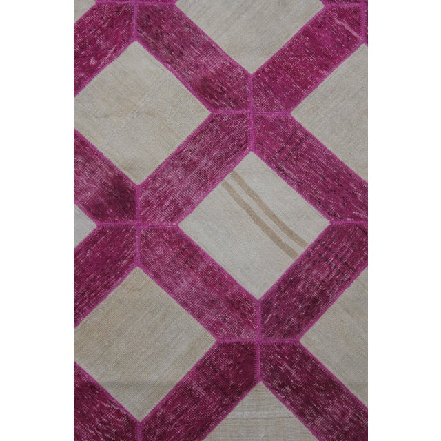 "Aara Rugs Inc. Hand Knotted Patchwork Rug - 10'3"" X 7'2"" - Image 2 of 3"