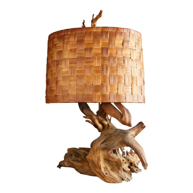 Driftwood Table Lamp with Woven Shade - Image 1 of 7