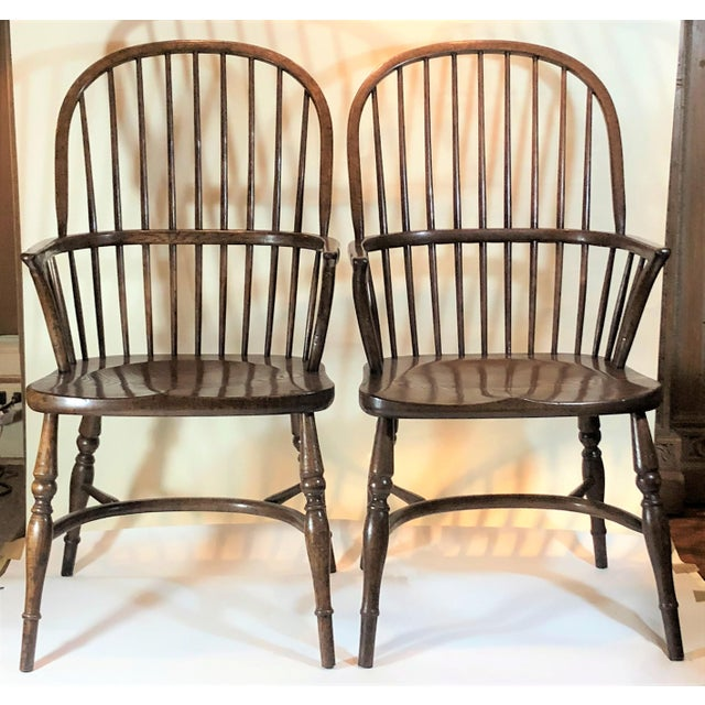 Pair English Oak Windsor Armchairs. For Sale In New Orleans - Image 6 of 6