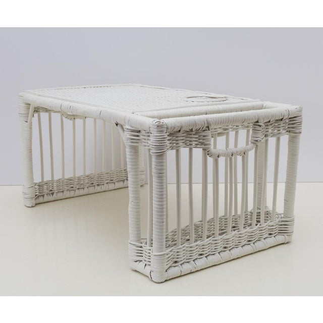 Cottage White Wicker Rattan Breakfast in Bed Tray For Sale - Image 3 of 6