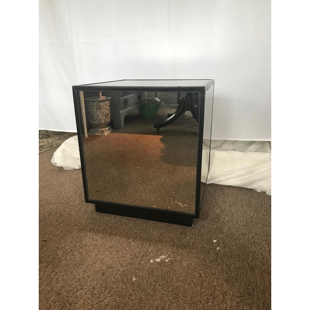 Ralph Lauren Style Antiqued Glass Cube Side Table - Image 2 of 7