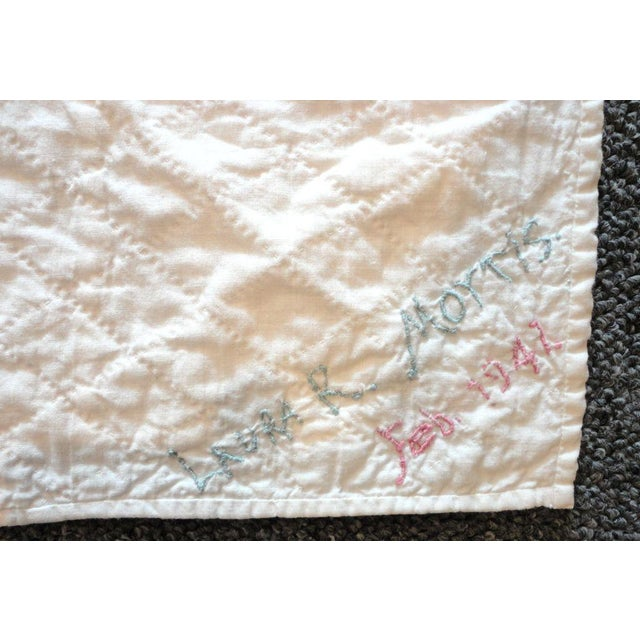 Signed and Dated 1941 Postage Stamp Double Irish Chain Quilt - Image 6 of 6
