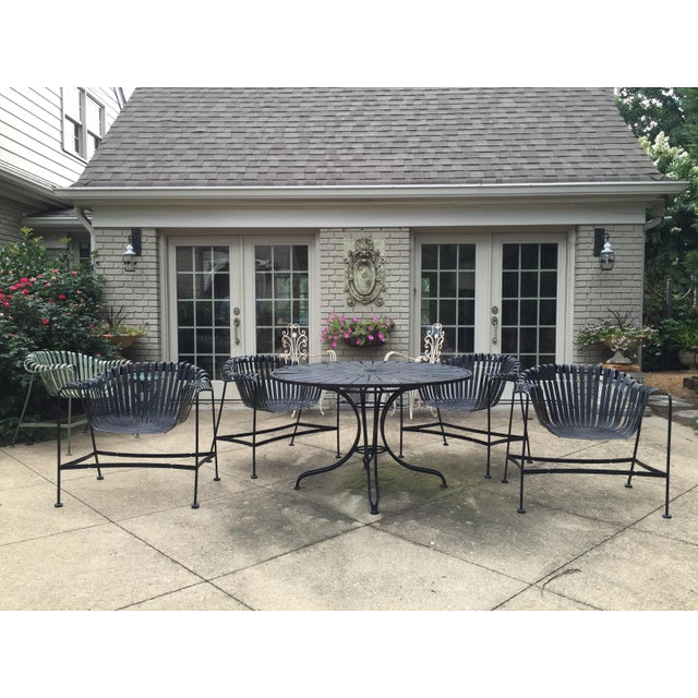 Black Mid-Century Outdoor Patio Set - Set of 5 For Sale - Image 8 of 9