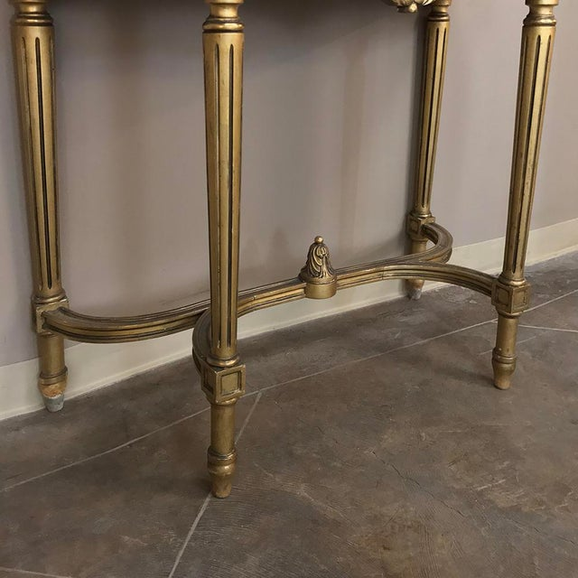 19th Century French Louis XVI Marble Top Giltwood Console With Mirror For Sale - Image 10 of 12