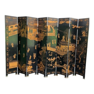 Chinese Export 8 Panel Lacquer Draught Screen For Sale