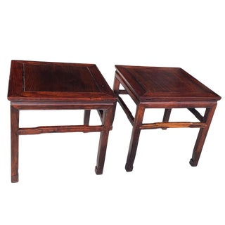 Chinese Carved Hongmu Wood Low Tables - a Pair For Sale
