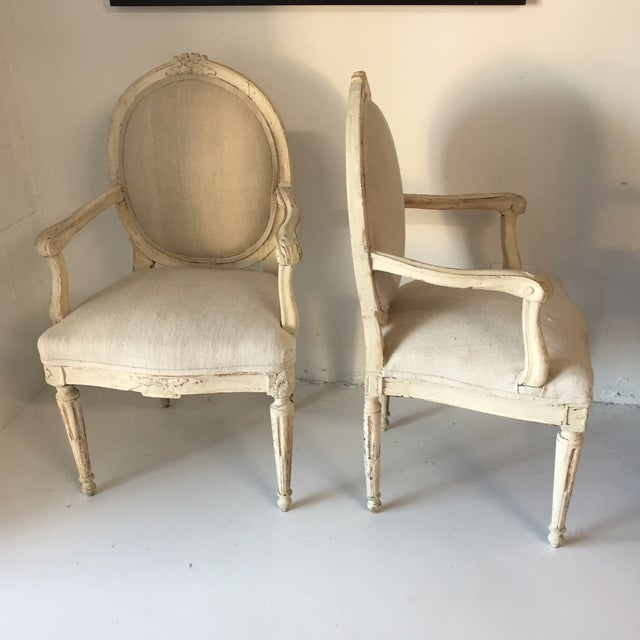 Swedish Antique White Arm Chairs - a Pair For Sale - Image 4 of 12