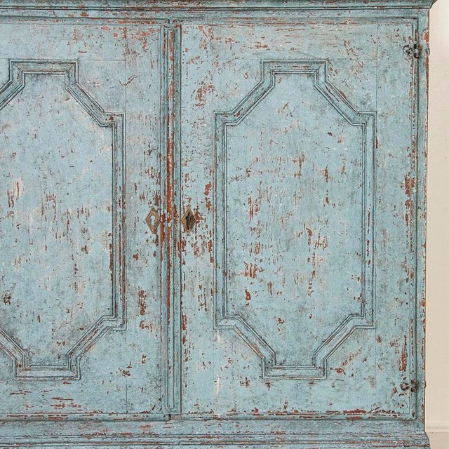 Antique Blue Painted Bookcase Display Cabinet From Sweden For Sale - Image 11 of 13