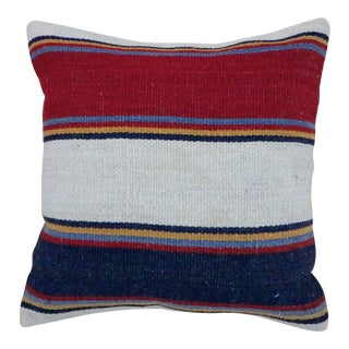 Vintage Red and Blue Striped Kilim Pillow For Sale