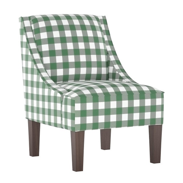 Swoop Arm Chair in Classic Gingham Evergreen Oga For Sale In Chicago - Image 6 of 7