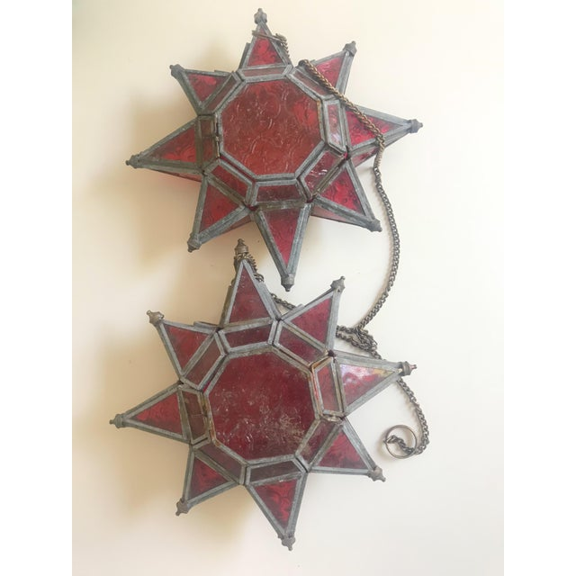 1970s Boho Chic Morovian Red Glass Star Lanterns - a Pair For Sale - Image 9 of 9