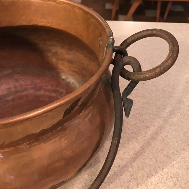 Antique Copper Cauldron Planter For Sale - Image 4 of 11