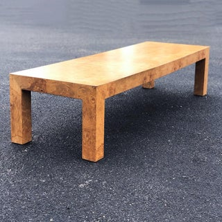 Mid-Century Modern Parsons Burlwood Coffee Table Preview
