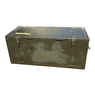 Vintage Industrial Wood Military Chest For Sale