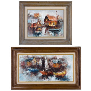 Mid Century Modern Abstract Boats in Harbor - A Pair