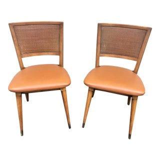 Mid 20th Century Mid-Century Modern William A. Berkey for John Widdicomb Walnut Side Chairs With Faux Leather Seats - a Pair For Sale