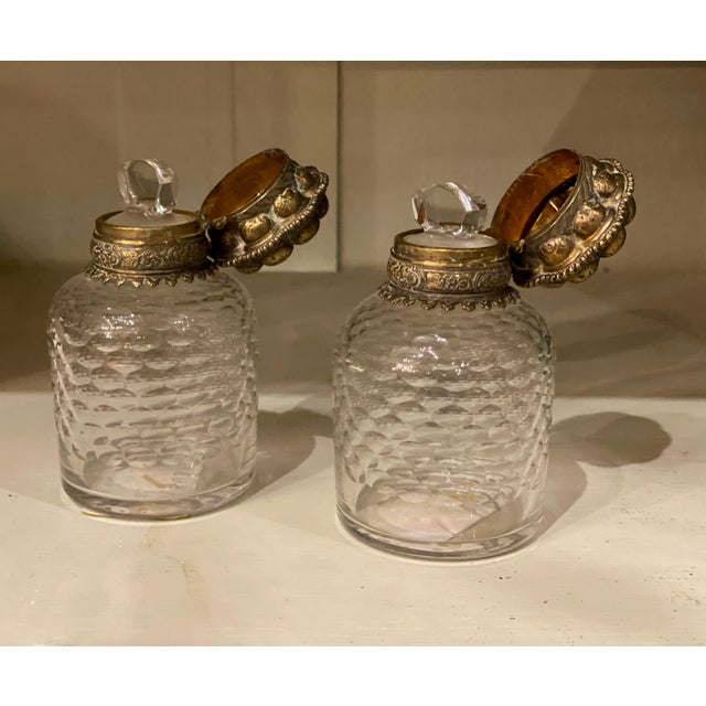 French Bronze and Glass Inkwells From France - a Pair For Sale - Image 3 of 7