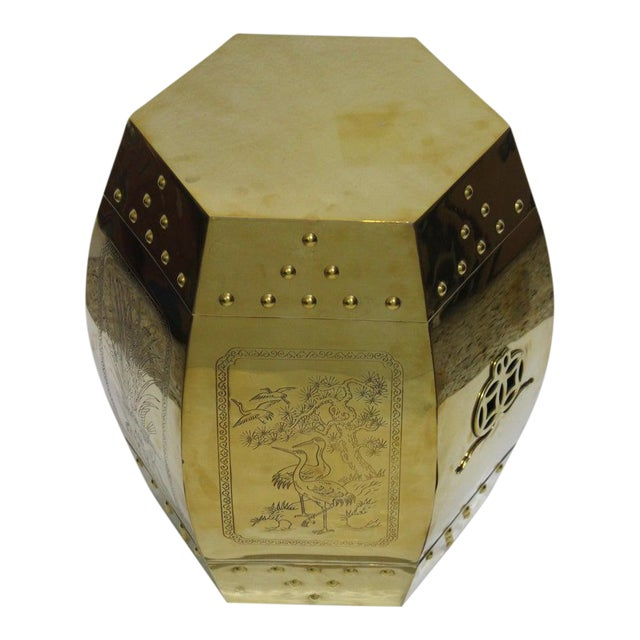 Mid-Century Chinese Brass Garden Seat Stool For Sale