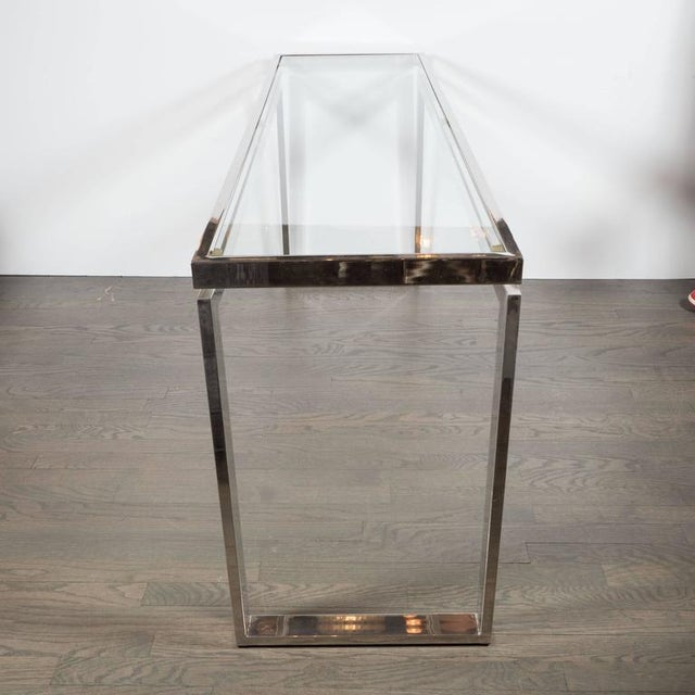 Mid-Century Modernist Chrome and Glass Console or Sofa Table by Milo Baughman For Sale In New York - Image 6 of 7