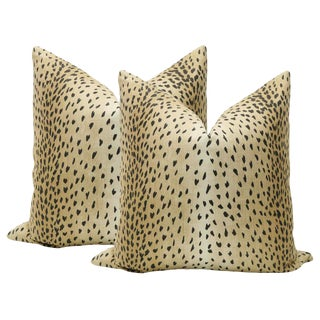 "22"" Antelope Linen Print Pillows - a Pair For Sale"