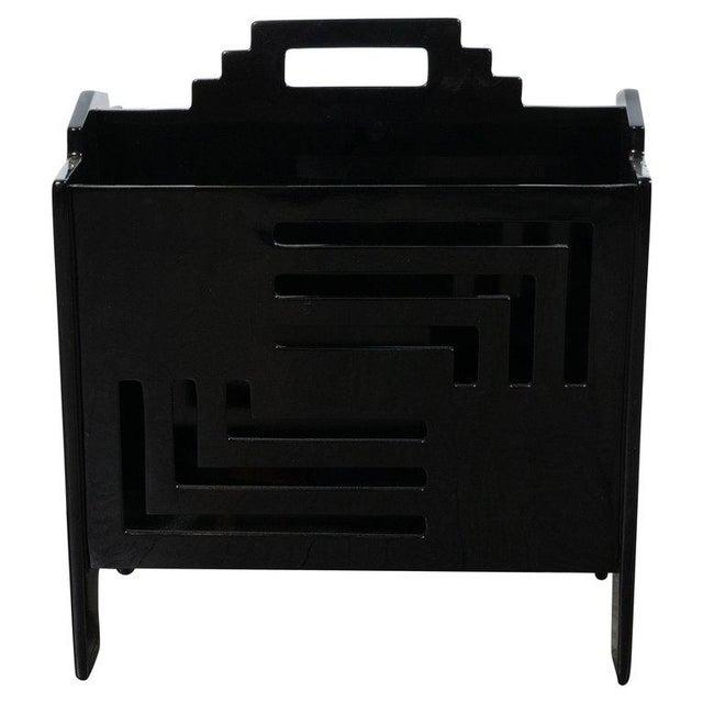 Lacquer Art Deco Machine Age Skyscraper Style Black Lacquer Magazine Holder For Sale - Image 7 of 7