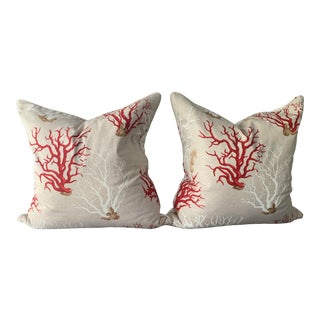 Coral Linen Pillows - A Pair For Sale