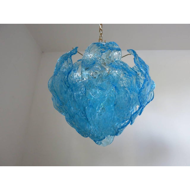 Mazzega Murano Italian Blue Murano Glass Leaves Chandelier by Mazzega For Sale - Image 4 of 5