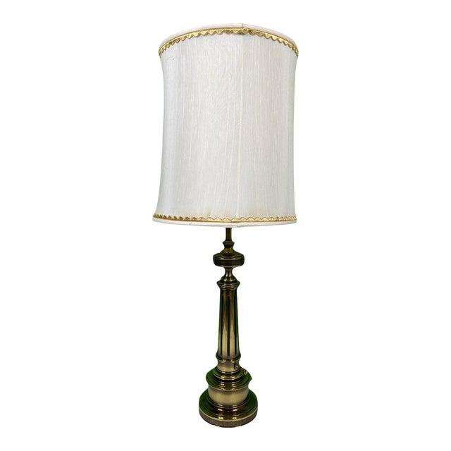 Vintage 1960s Mid Century Modern Stiffel Solid Brass Column Turn Knob Lamp For Sale