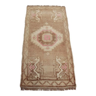 Turkish Decorative Brown Wool Small Rug - 1′7″ × 3′4″ For Sale